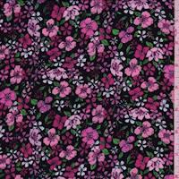 *1 YD PC--Black/Pink Floral Crepe De Chine
