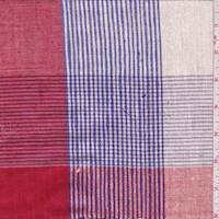 Red/Ivory/Ink Check Shantung Suiting