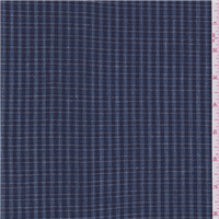 *2 3/4 YD PC--Navy Blue Plaid Suiting