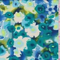 *2 1/4 YD PC--Teal Daffodil Floral Rayon Challis