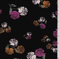 Black Rose Sprig Jersey Knit