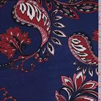 Deep Blue Stylized Floral Jersey Knit