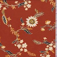 Burnt Orange/Gold Floral Jersey Knit