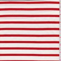 White/Cherry Stripe Jersey Knit