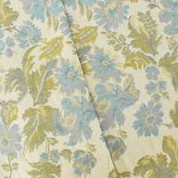 Cream Beige/Blue/Multi Floral Jacquard Home Decor Fabric