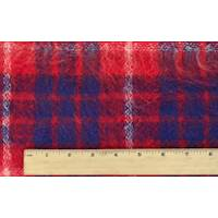 *3 1/4 YD PC--Red/Blue Wool Blend Textured Plaid Jacketing