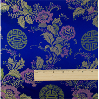 *2 1/4 YD PC--Blue/Multi Floral Brocade
