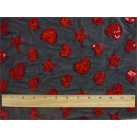 *2 YD PC--Black/Ruby Red Heart Star Stretch Mesh