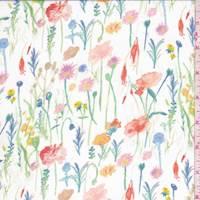 White Multi Floral Stem Polyester Chiffon