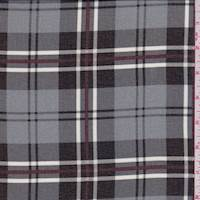 Dove Grey/Black Plaid Polyester Chiffon