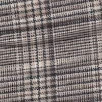 *4 5/8 YD PC--Black/Ivory/Brown Plaid Wool Suiting