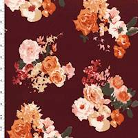 *1 3/4 YD PC--Maroon Red/Orange/Multi Floral Print Jersey Knit