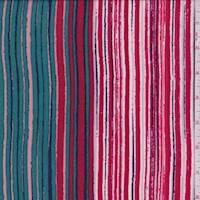 *5 YD PC--Teal/Red/Pink Stripe Print Challis