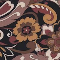 *3/4 YD PC--Black/Brown Stylized Floral Jersey Knit