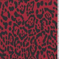 *3 YD PC--Red/Black Animal Print Activewear Knit