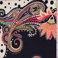 *1 1/2 YD PC--Black Multi Paisley Dot ITY Jersey Knit