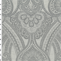 *5 YD PC--Gray/White Paisley Jacquard Home Decorating Fabric