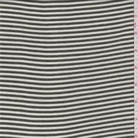 *3 3/4 YD PC--Olive/White Stripe Rib Jersey Knit