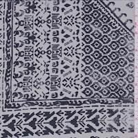 *1 1/4 YD PC--Dusty Grey/Midnight Inca Block Silk Crepe de Chine