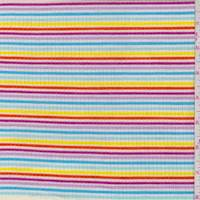 White Rainbow Stripe Mini Rib Knit