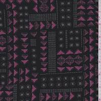 *1 1/4 YD PC--Black/Berry/Jade Arrow Jersey Knit