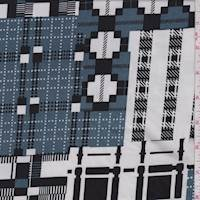 *1 YD PC--White/Black/Pewter Plaid Patchwork Jersey Knit