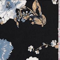 Black/Powder Blue Floral Antique Satin