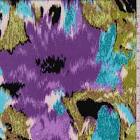 *1 YD PC--Amethyst/Turquoise Floral Jersey Knit