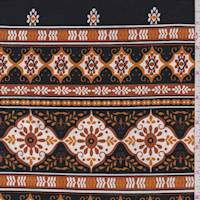 Black/Pumpkin Medallion Stripe Jersey Knit