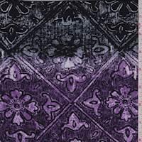 *1 YD PC--Plum/Black/Grey Floral Tile Brushed Jersey Knit
