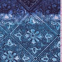 *1 YD PC--Turquoise/Royal Floral Tile Brushed Jersey Knit
