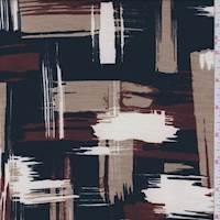 *5 YD PC--Black/Tan Brushstroke Slubbed Jersey Knit