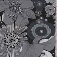 *3 YD PC--Black/Grey Multi Bold Floral Jersey Knit