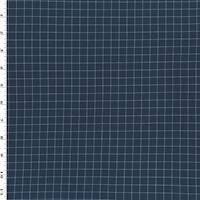 *3 3/4 YD PC--Navy Blue/Sky Cotton Grid Plaid Twill Shirting