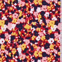 *3 3/8 YD PC--Red/Navy/White Confetti Floral Swimwear