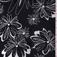 *1 3/4 YD PC--Black/White Modern Floral Cotton