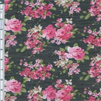 *3 1/8 YD PC--Black/Pink Rose Novelty Chiffon