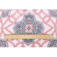 *1/2 YD PC--Blush Pink/Multi Tribal Embroidered Chiffon