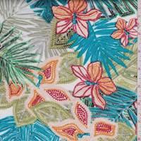 White/Aqua Mosaic Floral Jersey Knit