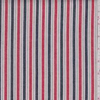 White/Red/Navy Stripe Twill