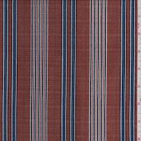Sienna Brown/Blue Stripe Crepe Georgette