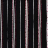 Black/Red Stripe Crepe Georgette
