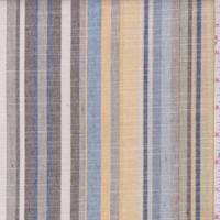 Yellow/Mocha/Blue Stripe Linen Look