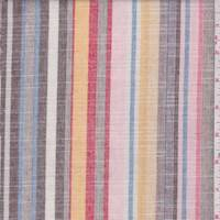 Pink/Brown/Gold Stripe Linen Look