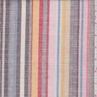 Pink/Brown/Gold Stripe Linen Look