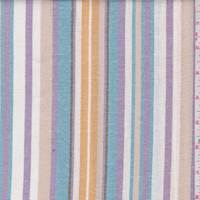 White/Lilac/Teal Stripe Linen Blend