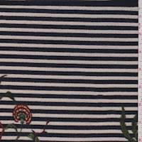 Pale Tan/Navy Stripe Floral Sweater Knit