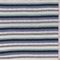 White/Seafoam/Perwinkle Stripe Pointelle Sweater Knit