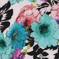 Ecru/Mint Multi Bold Floral Scuba Knit