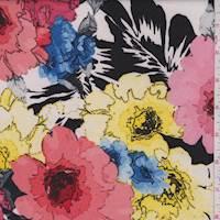 Ecru/Coral Multi Bold Floral Scuba Knit
